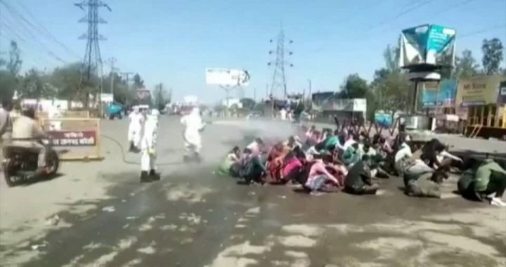Wanderarbeiter in Indien: Groteske Szenen: Menschen werden wegen Angst vor Coronavirus mit Desinfektionsmittel besprüht