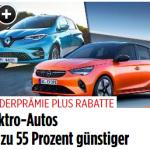Kaufprämie und Rabatte machen E-Autos günstig (BILDplus) Elektroautos bis zu 55 Prozent günstiger