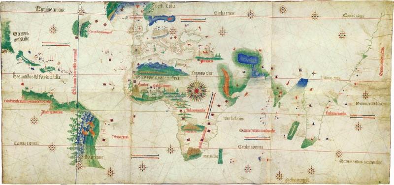 Die historische Karte von Cantino-Planisphäre