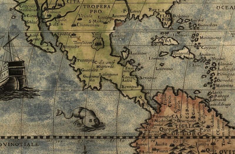 Historische Weltkarte im 16. Jahrhundert